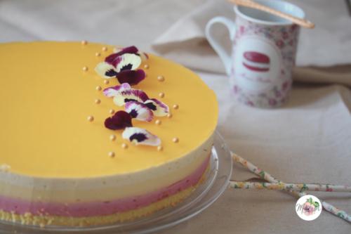 Bavarois framboise, mangue, vanille et fruit de la passion