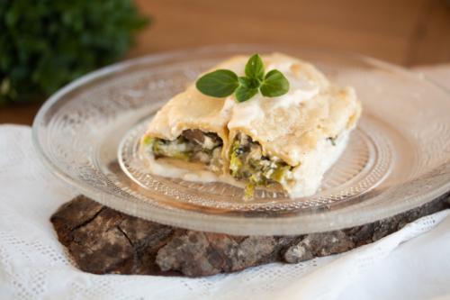 Cannelloni aux champignons, chou et blette à la brousse de brebis