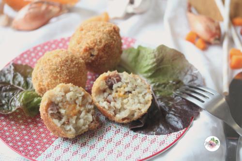 Arancini champignons, jambon cru et mimolette