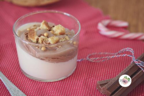 Panna cotta vanille, ganache chocolat au lait et coulis banane litchi